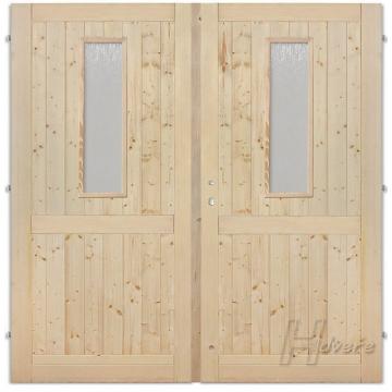Dvoukřídlové dveře plné příčka 2xsklo